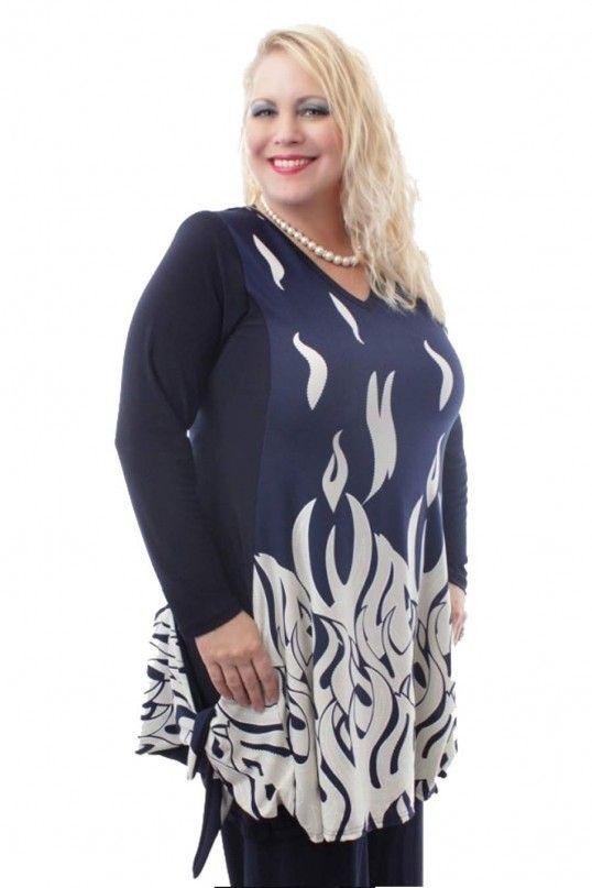 Plus Size Fire Print Tunic