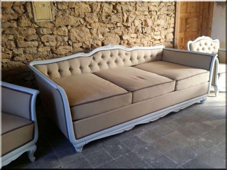 Neobarokk ülőgarnitúra (kanapé, fotel, zsámoly)