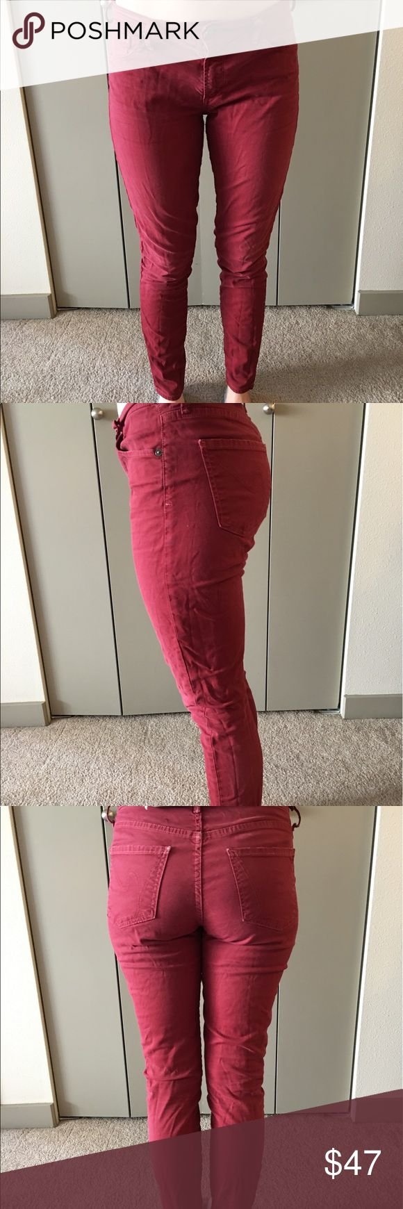 Citizens of Humanity Maroon Skinny Jeans Size 28. Minimal stretch. No distressing. Good condition. Citizens of Humanity Jeans Skinny