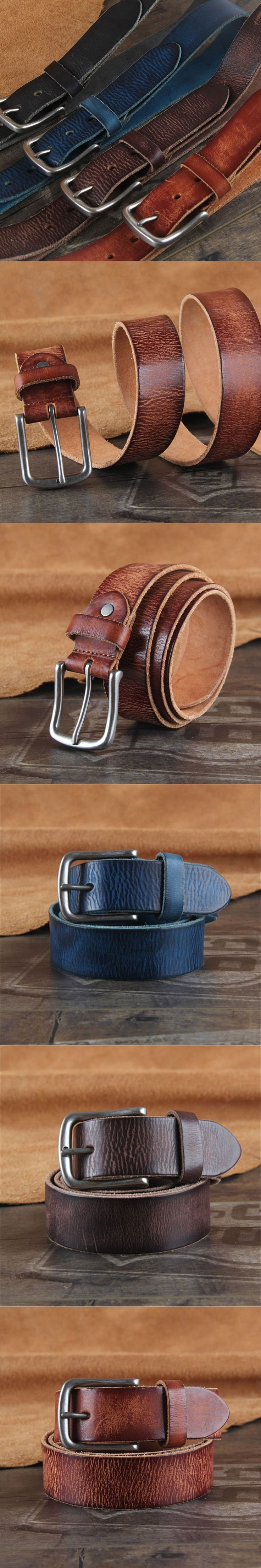 Vintage Belt Buckle Genuine Leather Men Belt Ceinture Homme Cinturones Hombre Top Quality Jeans Blue Belt Wide Strap WMBT0443