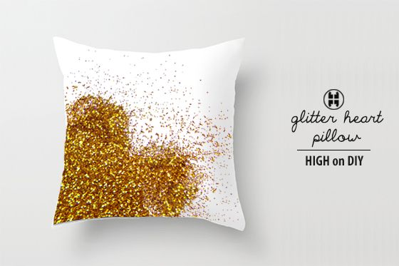 make your own glitter heart pillow via High on DIY