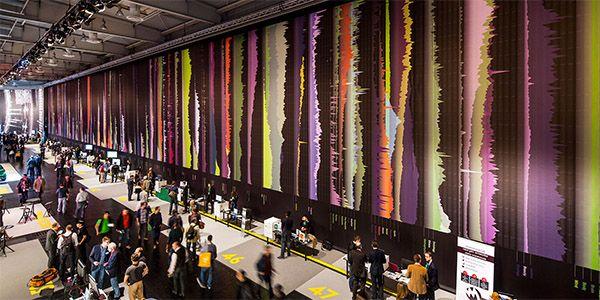 CODE_n |  Kram/Weisshaar | CeBit 2014 | Hannover Germany | 260 meters of floor to ceiling Goggle ngram graphics