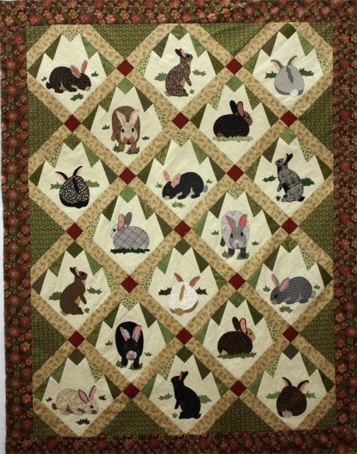 Kinder Quilt Patronen.Rabbit Tracks Applique Quilt Pattern By Charlotte Warr Andersen