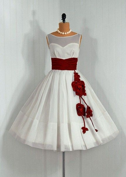 Oooo red and white vintage dress. Wear to...fun summer party? Engagement party? Birthday Party!