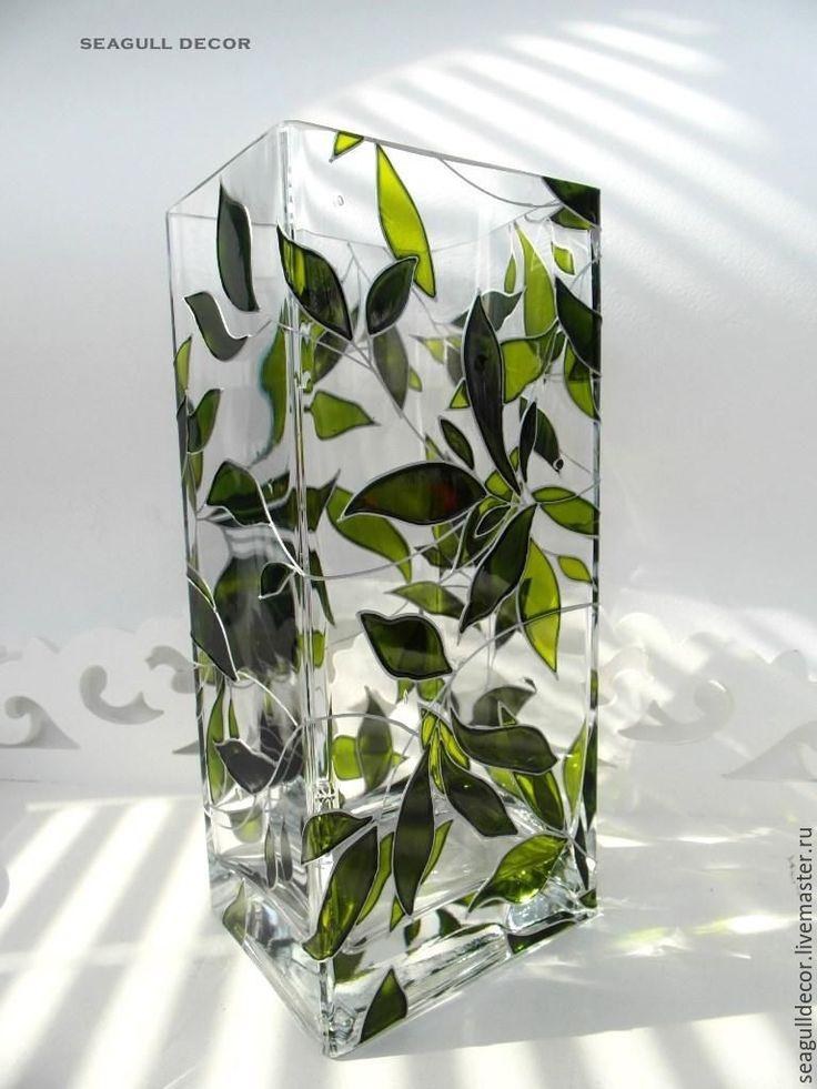 Купить Ваза Зеленая. Роспись по стеклу - зеленый, вазы для интерьера, ваза для цветов стекло