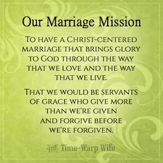 Create a mission statement for your marriage!