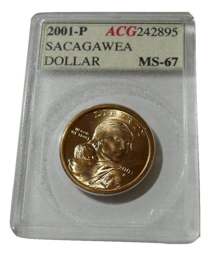 #Coin Collectors 2001 P Sacagawea Dollar MS67 ACG 242895 Estate Find Accugrade Holder just $15.00
