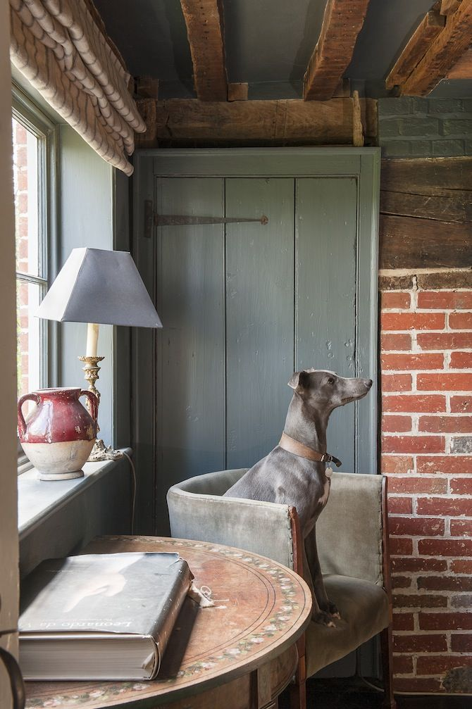 gray-green paint, brick, antiques, velvet upholstery at Walnuts Farm | David Merewether for Wealden Times