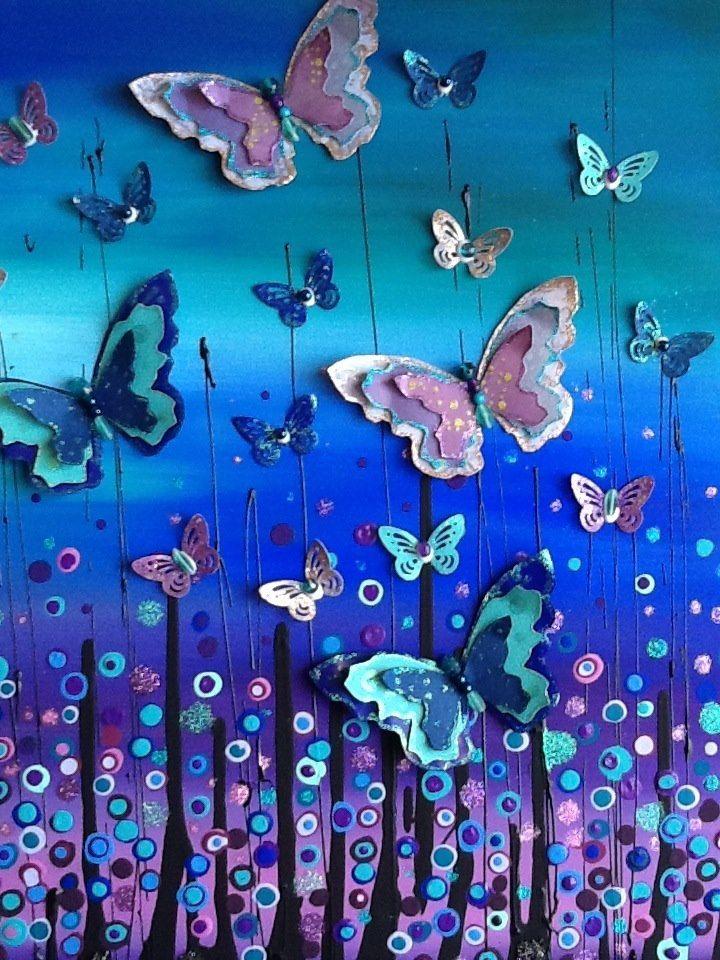 "60 x 60cm Mixed media on canvas ""Midnight Flutter"". $225"