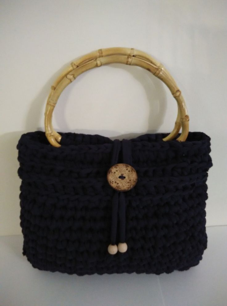 crochet purse, handbag, dark blue with bamboo handles by yrozafcrocheting on Etsy