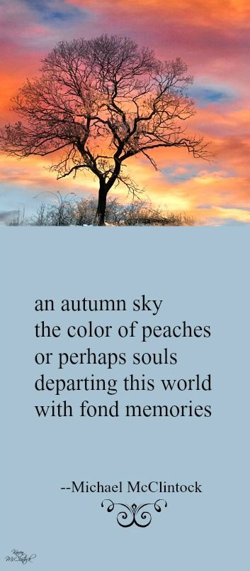Perfect A Beautiful Thought To Hold. Tanka Poem: An Autumn Sky    By Michael  McClintock.