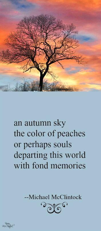 Tanka poem: an autumn sky -- by Michael McClintock.