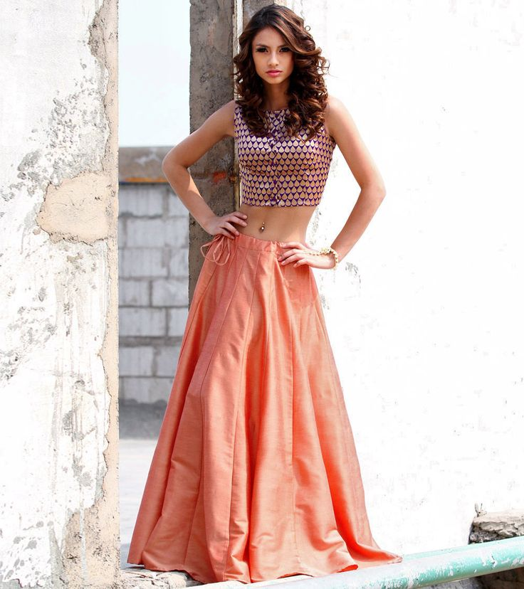Copper Cotton Silk Skirt With Purple Brocade Crop Top