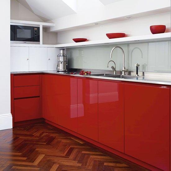 Bold red compact kitchen | Colourful kitchen ideas | Kitchen | PHOTO GALLERY | Beautiful Kitchens | Housetohome.co.uk