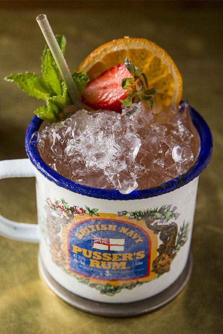 Cocktail in a mug at Peg Leg