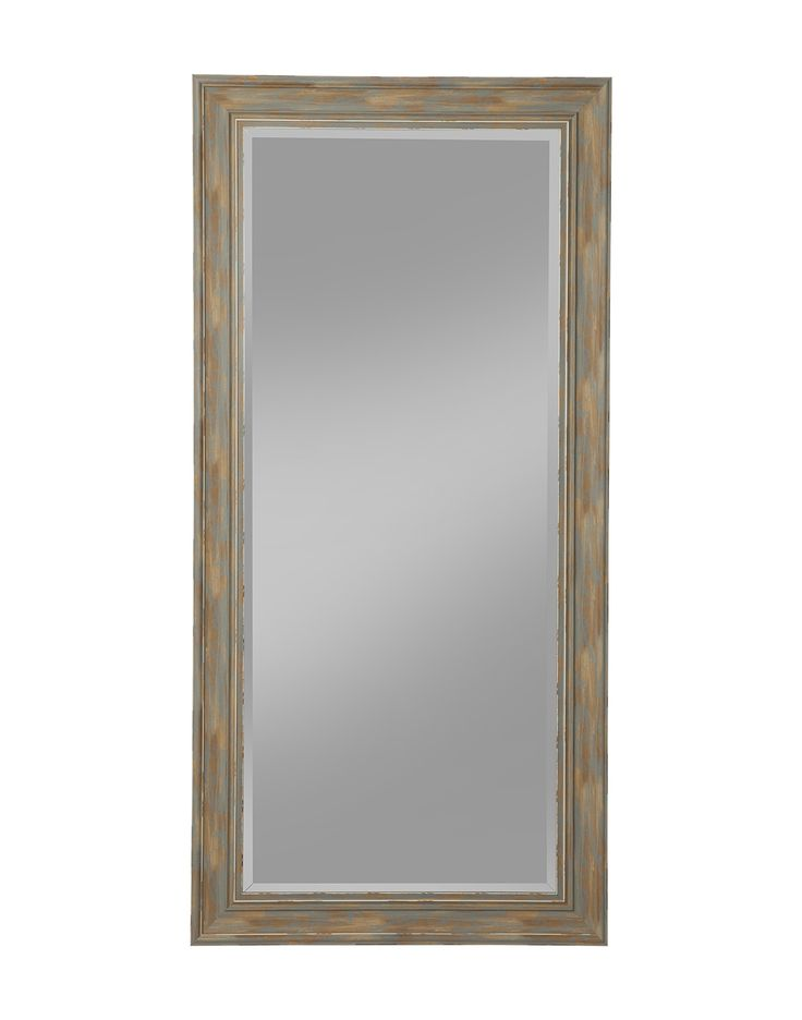 Sandberg Furniture Farmhouse, Full Length Leaner Mirror, Antique Turquoise. Finish: Antique Turquoise. Four (4) inch weathered and antique farmhouse style frame features beveled glass. Can be used as a Leaner mirror or mounted on the wall either vertically or horizontally; perfect for the living room, bedroom, entryway, hallway, or bathroom. D-ring brackets are provided for Hanging without the use of a wire; includes anti-tip hardware kit for added safety. Overall Leaner mirror…
