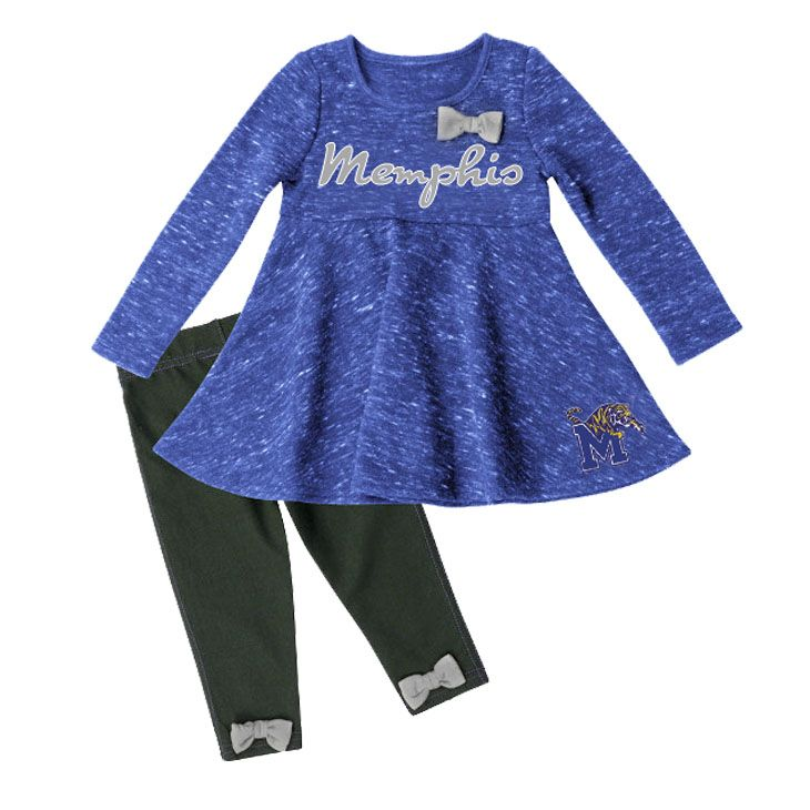 Infant Memphis Tigers Fleece Dress Outfit - This Memphis outfit is just ADORABLE for your little girl! The dress is a blue heather sweatshirt material with bow and embroidered Memphis Tigers logos. The pants are a stretchy jean with cute bows on the back ankles. And it's called 'Fetch' from Colosseum, and we totally agree!