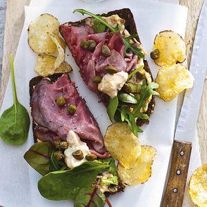 Recept - Open sandwich rosbief-tonijn - Allerhande