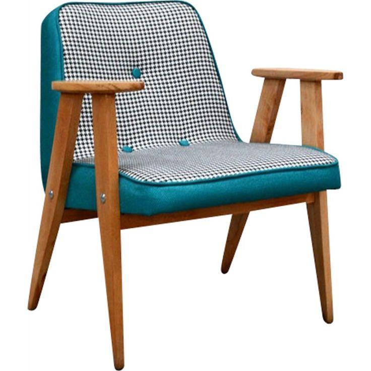 Armchair in Houndstooth fabric, Józef CHIEROWSKI - 1960s - Design Market