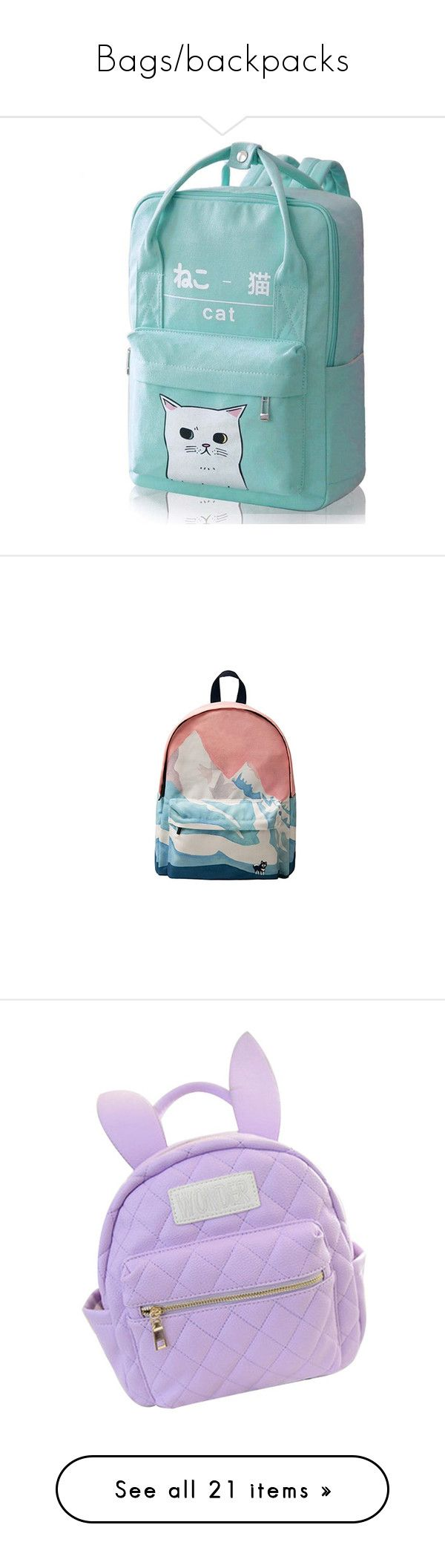"""""""Bags/backpacks"""" by gayhope ❤ liked on Polyvore featuring bags, backpacks, backpack, pastel, knapsack bag, day pack backpack, pastel backpack, daypack bag, day pack rucksack and accessories"""