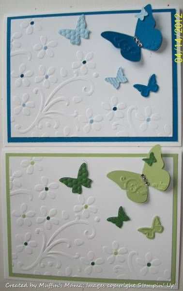 Paper: Whisper White, Pacific Point, Bashful Blue, Certainly Celery, Garden Green   Ink: Markers - Pacific Point, Bashful Blue, Certainly Celery, Garden Green   Accessories: BigShot, Elegant Bouquet embossing folder, Beautiful Wings embosslit, Rhinestones, Glue Dots