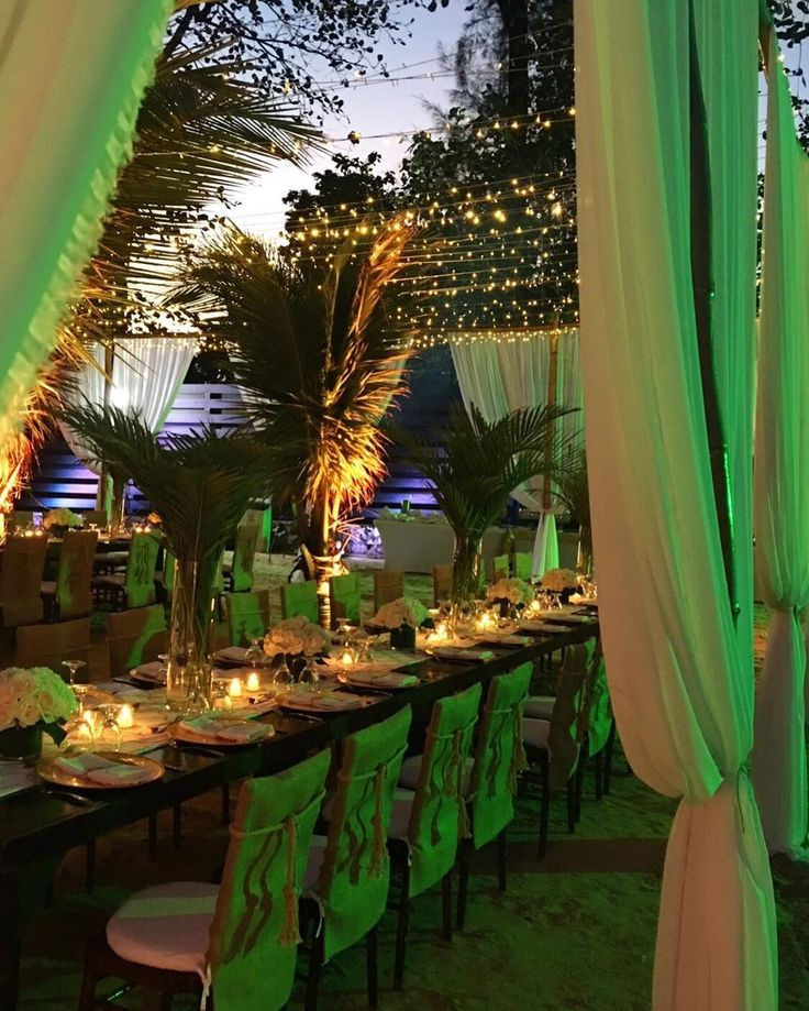 Perfect weather for an intimate wedding rehearsal dinner at Trident Beach in Port Antonio, Jamaica. Guests dined under the stars in a large bamboo canopy on the beach. Talk about barefoot luxury!!! #weddings #bymelaniemiller #weddingplanner #weddingdecor #decor #rehearsaldinner #love #flowers #bride #groom #party #canopy #candles #weddingparty #candlelight #roses #hydrangeas #palmleaves #fairylights #beach #beachwedding #destinationwedding #weddingsinjamaica #tridentbeach #tridentcastle…