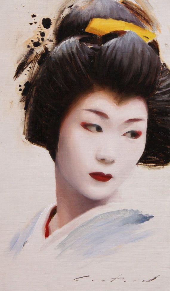 Lorenza - peinture à l'huile sur toile de lin 41 x 24 cm - japonaise geisha art maiko asiatique œuvre d'art