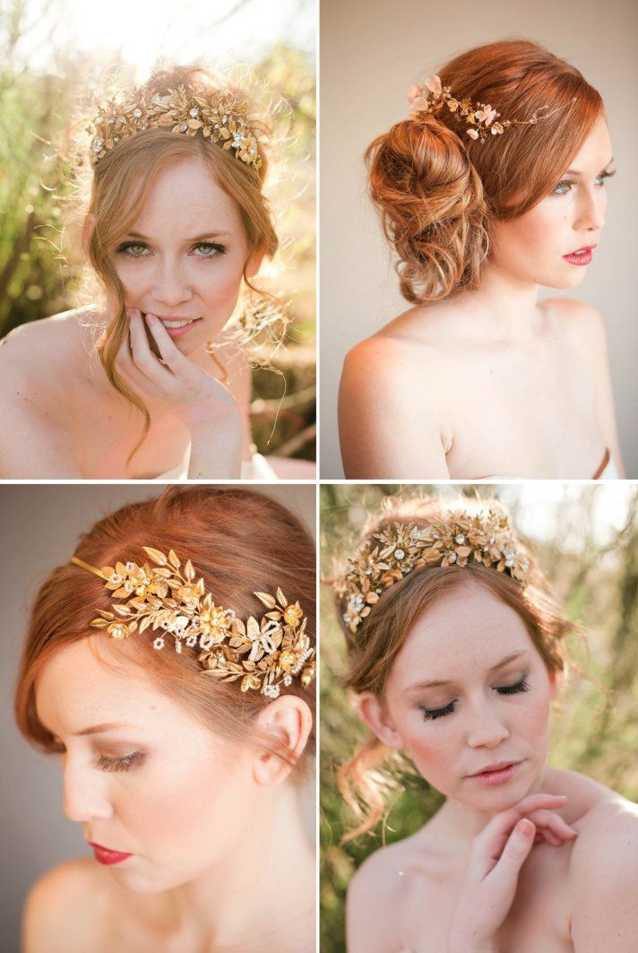 swirling gold wedding headpieces