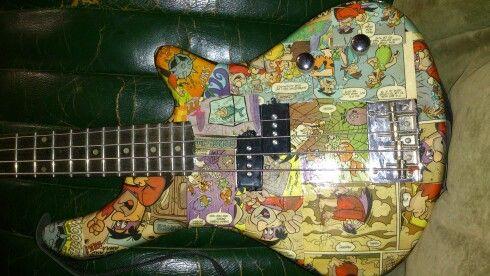 Custom bass guitar by Nic *Flintstones Bedrock On!*