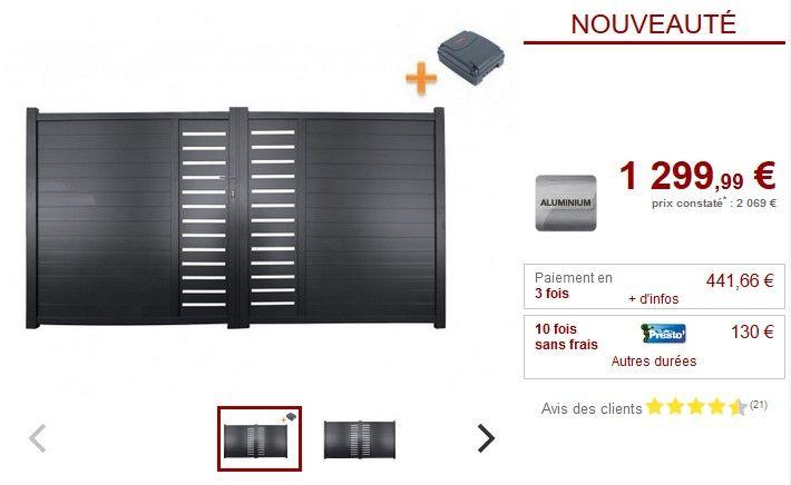 Pack portail battant aluminium motifs GATEO 350x160 cm + moteur RIVE prix promo Portail Vente Unique 1 299,99 € TTC au lieu de 2 069 €