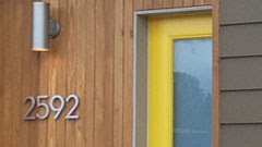 thank you meghan - i'm stealing this. Palm Springs Mid-Century Modern House Numbers; colorful front door; wood siding