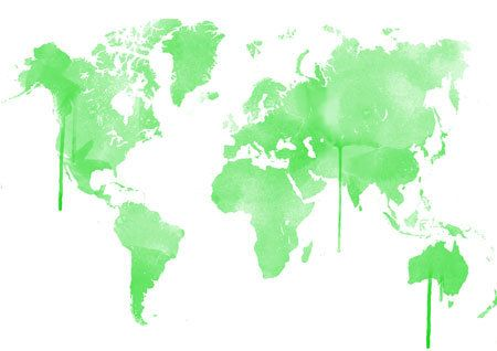 Green Watercolor Worldmap in beautiful colors  by DemHerPrints, $10.00