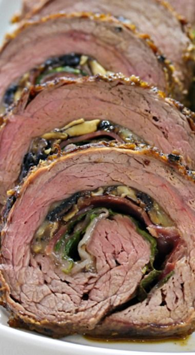 Stuffed Flank Steak with Prosciutto and Mushrooms