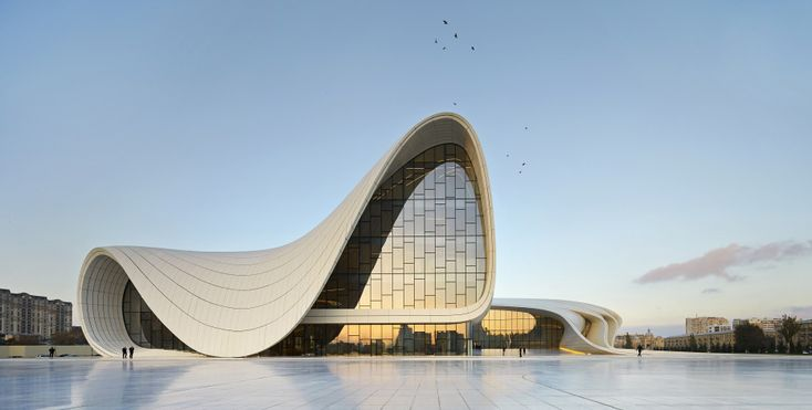 """The Heydar Aliyev Center in Baku, Azerbaijan, which won the London Design Museum's Design of the Year award in 2014, embodies Zaha Hadid's signature, voluptuous, design aesthetic. Photo by HUFTON CROW/ZAHA HADID ARCHITECTS via @wired """"Tracing the Legacy of Zaha Hadid, Architecture's Esteemed Anomaly"""" #hadid #architecture #design"""