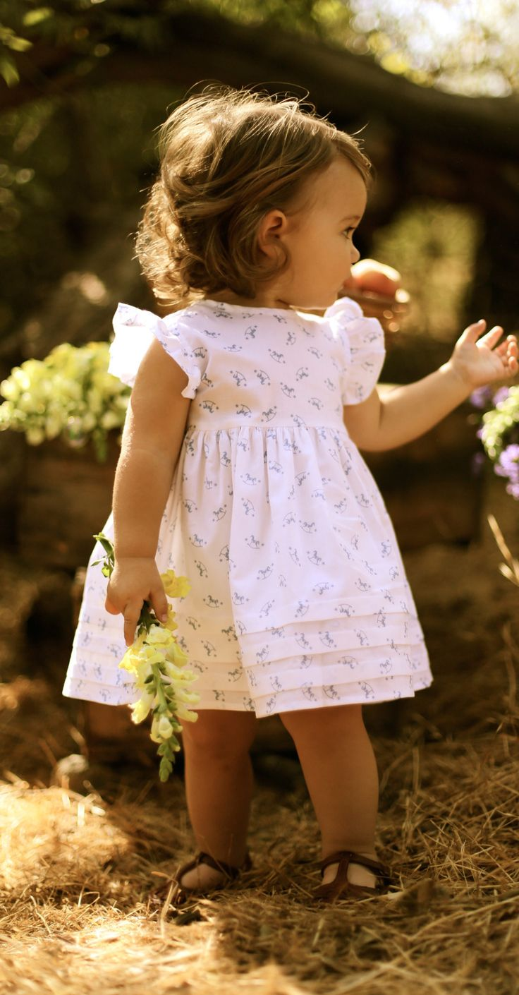 White Rocking Horse Butterfly Sleeve Dress