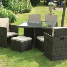 Rattan Effect 4 Seater Garden Cube Furniture With 4 Footrests
