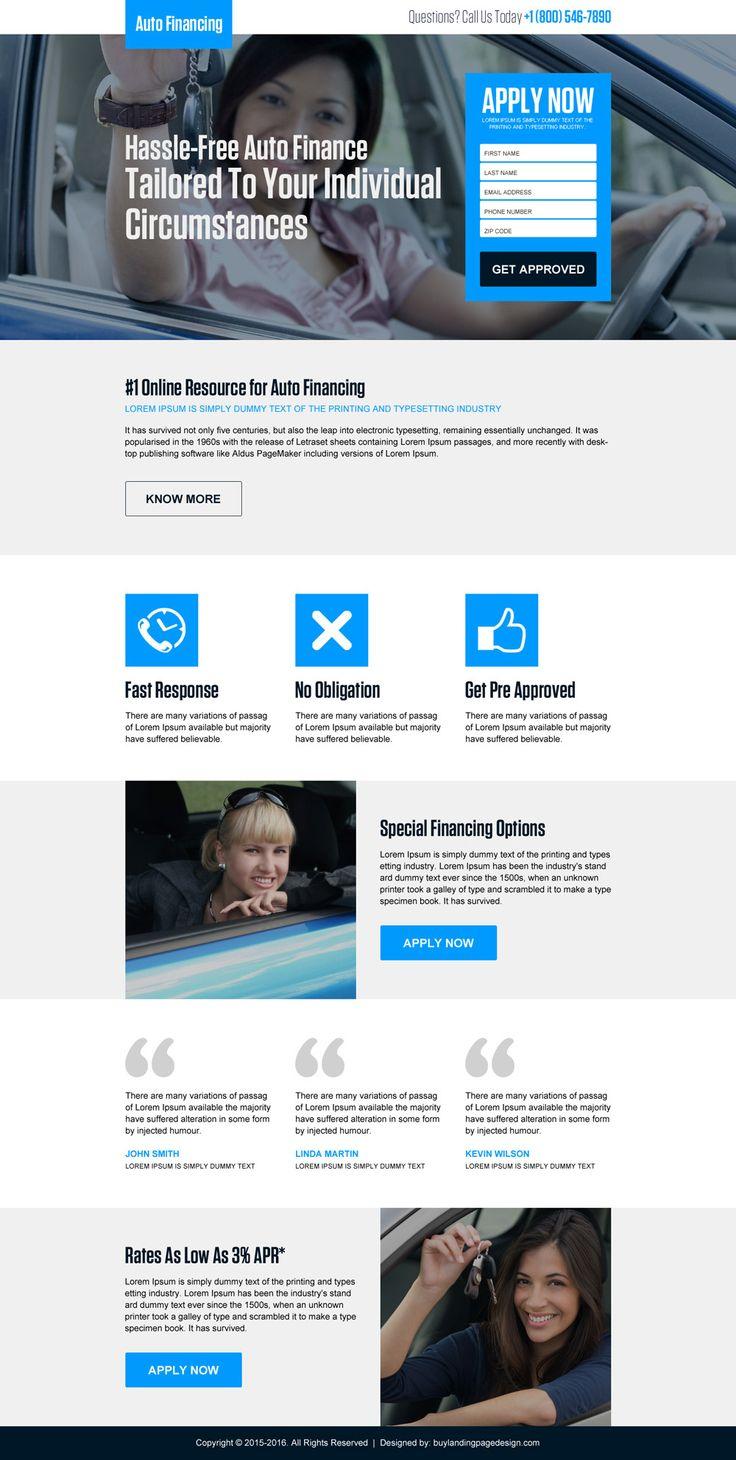 hassle free auto finance lead capture landing page design