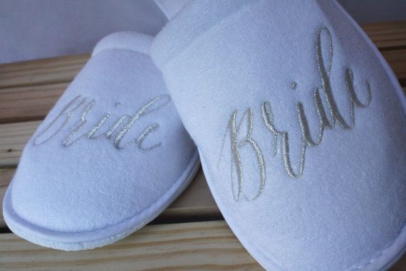 Slippers for the Bride Maid of Honor and by PersonalizedSlippers