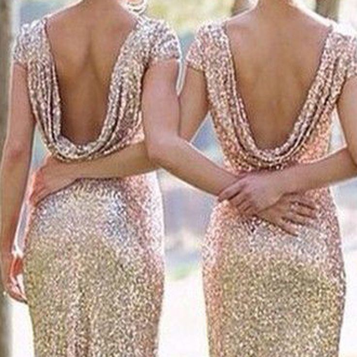 Cheap Champagne Gold Sparkly Bridesmaid Dresses 2016 Short Sleeves Maid of Honor Dresses For Weddings vestidos de fiesta largos (6)