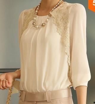 2014 nuevo de la moda las mujeres bordados de largo manga camisas de gasa blusa de encaje dama casual camisa