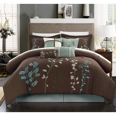 Chic Home Nits 12 Piece Comforter Set Embroidered Floral Design Bed in a Bag Bedding - Sheets Bed Skirt Decorative Pillow Shams Included, Queen Brown
