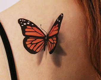 3D Butterfly Temporary Tattoo -  looks like if just landed on you
