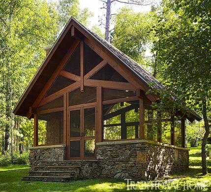 Sophisticated Family Cabin in the North Woods | Traditional Home//now that's a screen house!