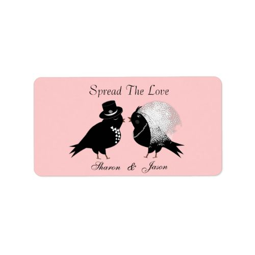 """A fabulous idea for wedding favors, little pots of jam or honey add these cute little labels in pink, black and white with love birds as bride and groom """"Spread The Love"""" personalized with your initials or names. #wedding #favors #jam #labels #spread #the #love #wedding #diy #wedding #favors #personalized #wedding #favors #pink #black-and-white #bride-and-groom #cute #canning #labels #stylish #jar #labels #weddings #wedding #stickers #favors #personalized #names #initials #monograms #white…"""