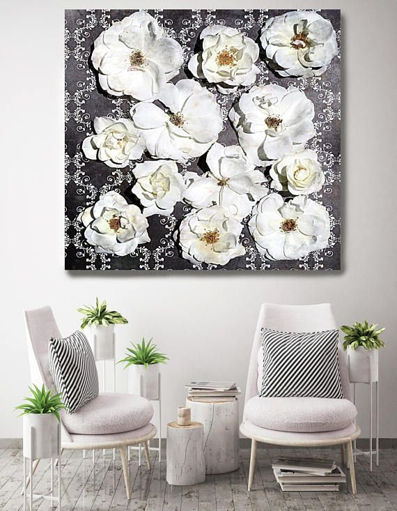 Shabby Chic Flowers 67 Rustic Floral Painting Black White Etsy Floral Wall Art Canvases Shabby Chic Flowers Chic Flowers