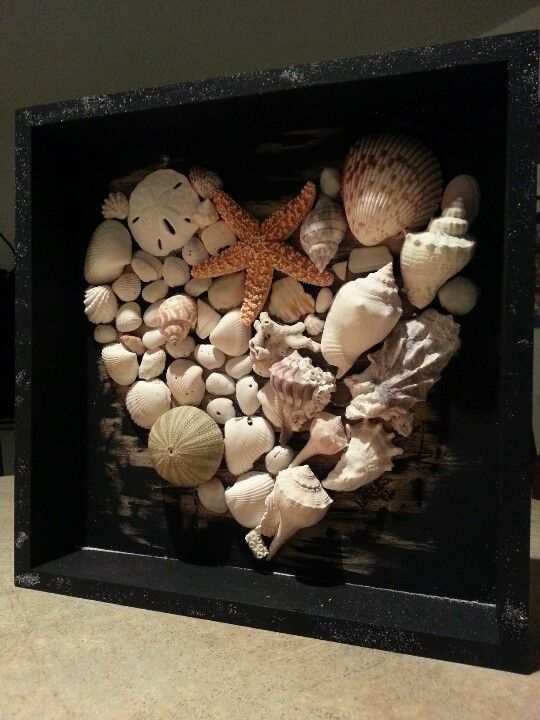 Seashells from spring break and our honeymoon  -- both in Naples -- in a shadow box I bought from Michael's. I painted the box black but left some worn spots under the shells so it wasn't so stark. I sprinkled some sand from the bottom of the bag in to the wet paint on the edges. Tip: use tweezers to hold and place shells. So you don't get scalding glue on your fingers. Like I did.