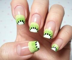 nailsNails Art Ideas, Nailart, Summer Manicures, Summer Nails, French Tips, Fruit Nails Design, Nails Art Design, Painting Nails, Kiwi Nails