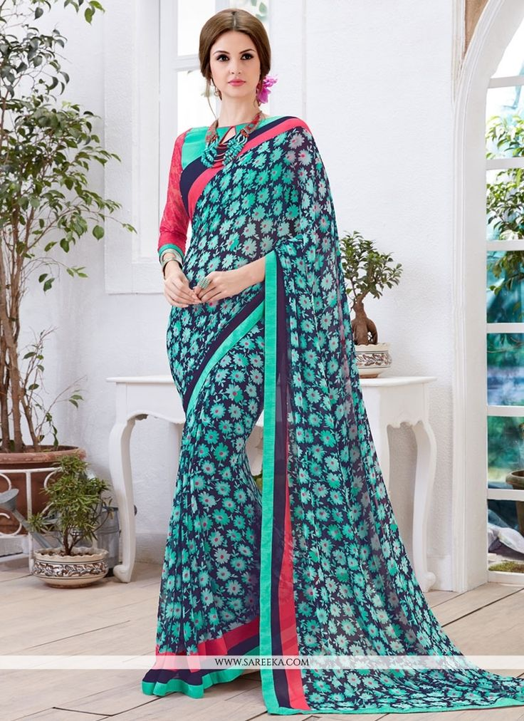 Fashion and trend will be at the peak of your splendor once you attire this multi colour georgette casual saree. This appealing dress is displaying some terrific embroidery done with print work. Comes...
