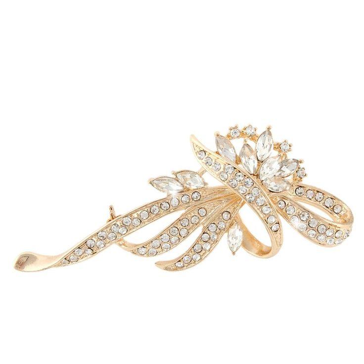 EVER FAITH Gold-Tone Austrian Crystal Clear Flower Wreath Band Bow Pin Brooch