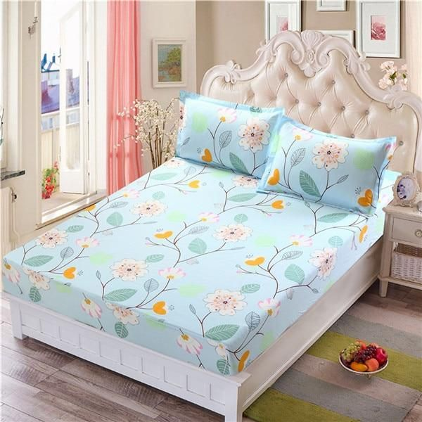 Colorful Fitted Bed Sheet With Pillow Cases For Queen Full Or Twin